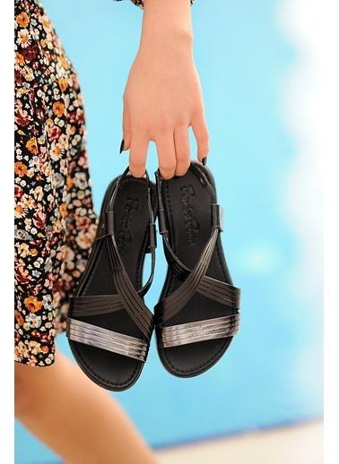 Pembe Potin A222-20 Kadın sandalet Siyah